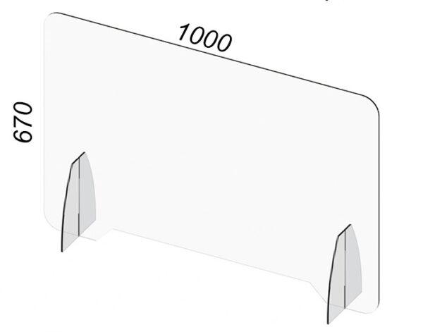 Barriera in Plexiglass con passamano contro coronavirus