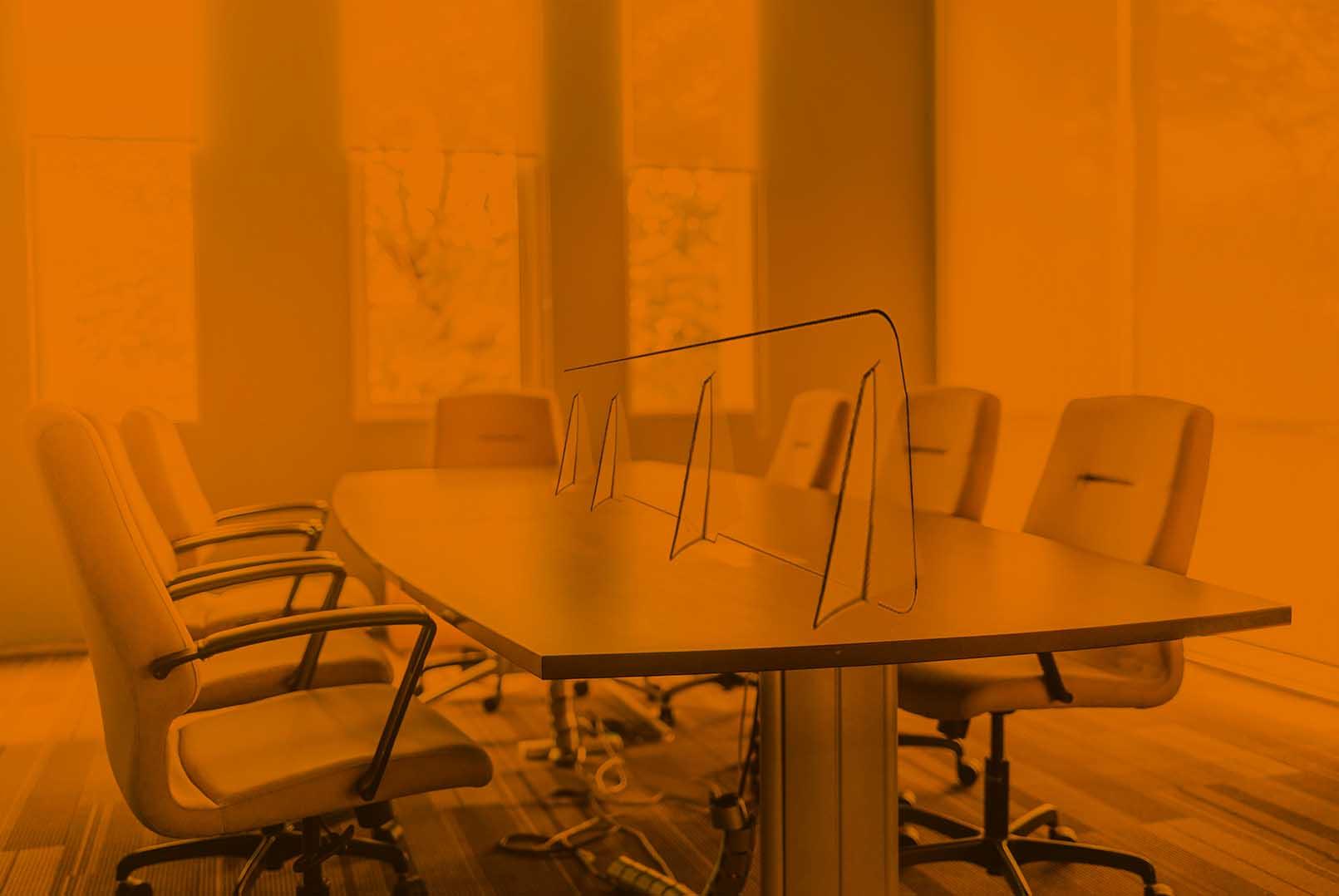 Divisore in plexiglass per scrivanie ufficio, meeting room, front office