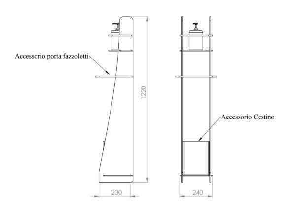 Espositore igienizzante mani in policarbonato o plexiglass