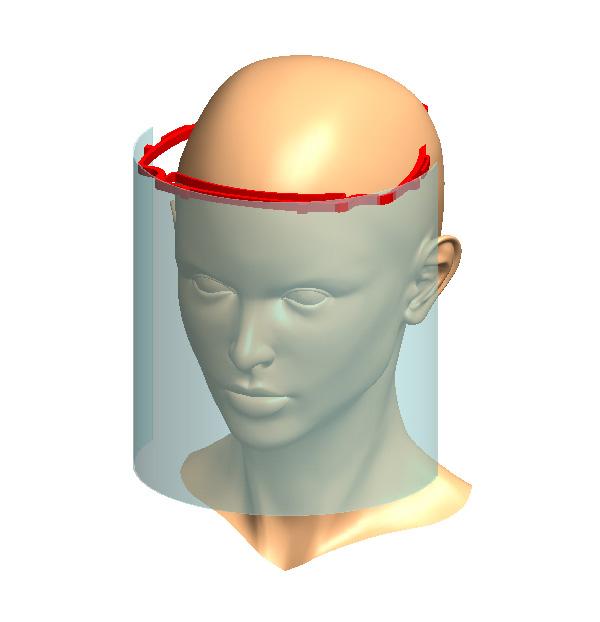 Maschera in plexiglass anti covid lunga